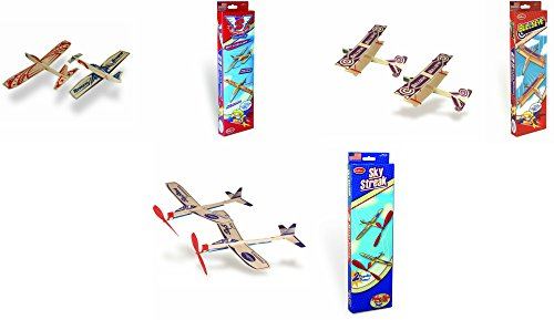 Guillow Balsa Wood Airplane Set - 3 Balsa Airplane Kits in One Set - Super Hero Twin Pack, Sky Streak Twin Pack, and Bullseye Twin Pack - 6 Planes ()