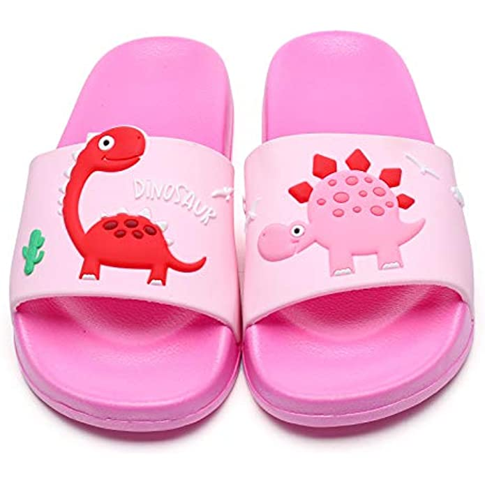 Toddler Little Kids Dinosaur Beach/Pool/Shower Slides/Anti-Skid Home Bath Slippers/Cute Summer Outdoor Shoes for Girls and Boys