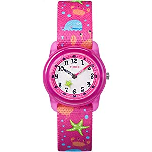 Timex Youth Kids Analog 28mm Elastic Fabric Strap |Pink| Watch TW7C13600