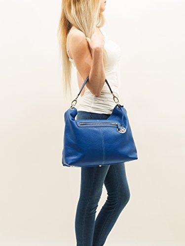 6Glam , Damen Schultertasche Blau Bluette