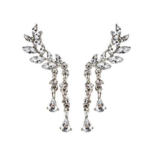 - AfazfaWomen's Angel Wings Stud Earrings Rhinestone Inlaid Alloy Ear Jewelry Party (Silver)