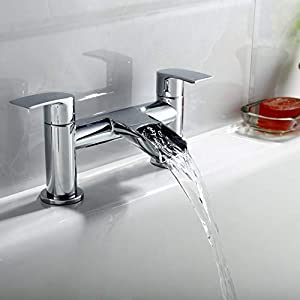[Basin Tap and Bath Tap] Hapilife Bathroom Sink Mixer Monobloc Faucet Waterfall and Tub Filler Tap Chrome with Pop Up…