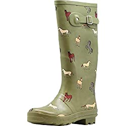 NORTY - Womens Hurricane Wellie Horse Print Matte Hi-Calf Rain Boot, Olive 40936-8B(M) US