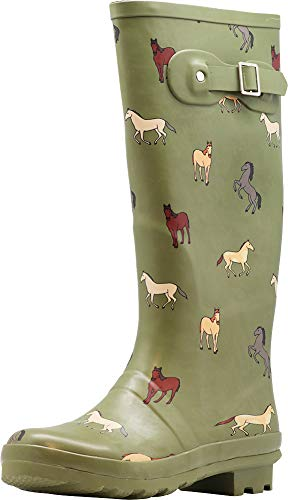 NORTY - Womens Hurricane Wellie Horse Print Matte Hi-Calf Rain Boot, Olive 40936-10B(M) US