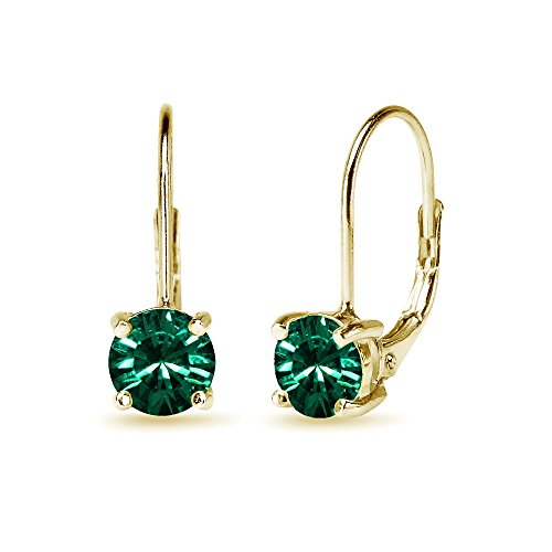Yellow Gold Flashed Sterling Silver Green Round-cut Leverback Earrings Made with Swarovski Crystals