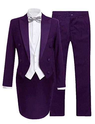 JYDress Mens 3 Pieces Tailcoat Suit Tail Tuxedo Formal Suit for Men