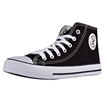 Shinmax Hi-tops Canvas shoes Unisex Canvas Shoes- Season Lace Ups Shoes Casual Trainers for Men and Women