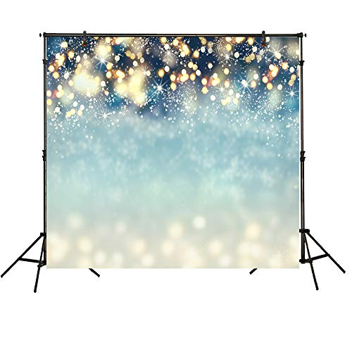 Funnytree 8X8ft Bokeh Shinning Spots Snowflakes Backdrops for Photography Mint Green Twinkle (Not Glitter) Light Sparkle Decoration Newborn Baby Portrait Photo Studio Photobooth Props