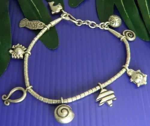 INFINITY KAREN HILL TRIBE 98% SILVER Handmade NAUTICAL FISH SNAIL Bracelet Nice B026 (Goddess Costume Diy)