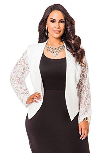 Ashley Stewart Women's Plus Size Ponte and Lace Open Jacket - Size: 18, Color: White