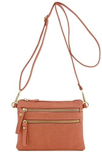 Multi Zipper Pocket Small Wristlet Crossbody Bag (Mauve)