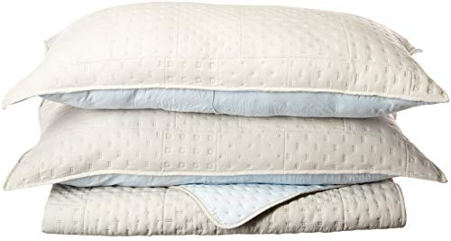 (KASENTEX Quilted Coverlet 3-pc Mini Bedding Set - All Season Lightweight Ultra Soft Stone Washed Blanket - Heat-Pressed 2-Tone Reversible Color, King + 2 King Shams, Fairest Grey/Sky Blue)