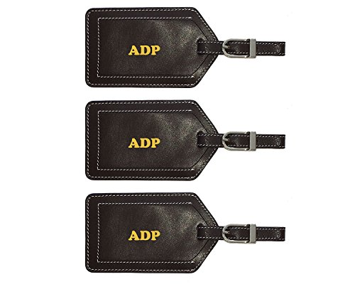 Personalized Monogrammed Brown Leather Luggage Tags - 3 Pack