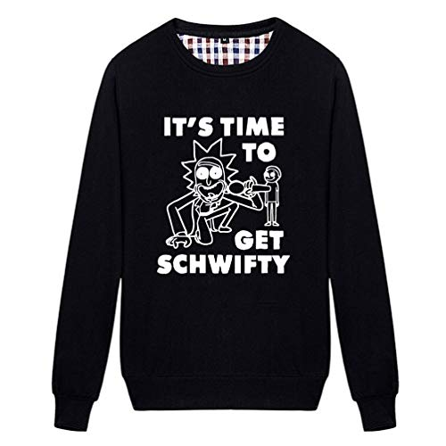 Unisex It's Time to Get Schwifty Novelty Graphic Sweatshirt (Black Small)