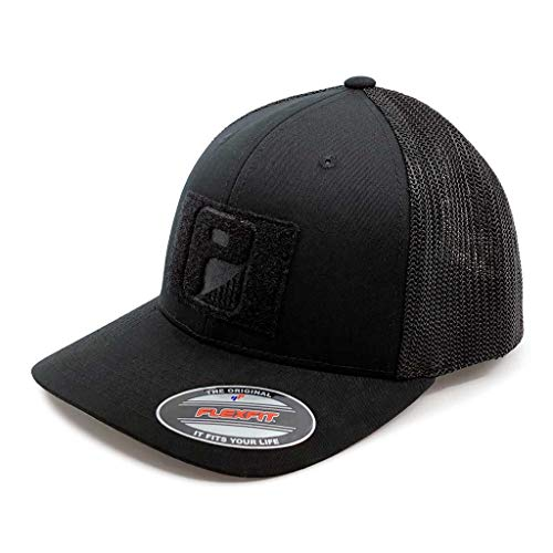 Pull Patch Tactical Hat | Flexfit Trucker Mesh Cap | Fitted, Curved Bill, Closed Back, Elastic Panels | Hook and Loop Patch Attachable | Black | Free US Flag Patch Included (Fitted Hats With Patch)