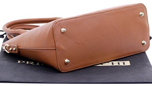 Include stile di bowling mano italiana pelle Allora o Grab in marca a Scuro custodia borsetta texture Tote borsa una tracolla Primo Sacchi protettiva H0w8ZZ