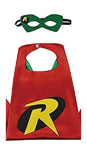 Dress Up Comics Cartoon Superhero Costume with Satin Cape and Matching Felt Mask (Robin)