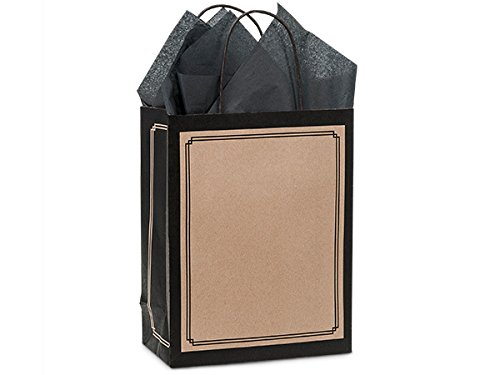 Pack Of 25, Cub 8 x 4.75 x 10.25'' Solid Black & Kraft Duets Shopping Bag Made In USA