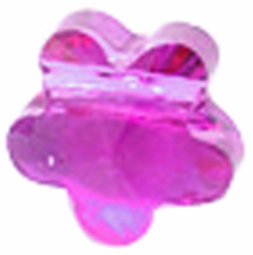 Swarovski Elements 10-Pack Five Petal Flowers Beads, Transparent Finish, 6mm, Fuchsia