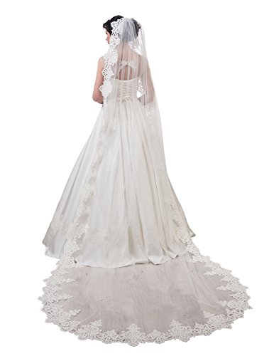 "Bridal Veil Amber from NYC Bride collection (cathedral 120"", white) by NYC Bride"