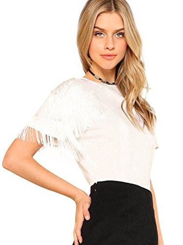 Romwe Women's Tassel Trim Fringe Short Sleeve Summer Casual Blouse T-Shirt Top White_1 Small