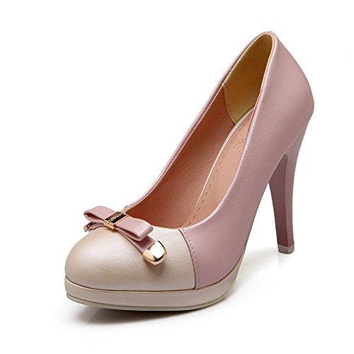 Amoonyfashion Kvinna Dra Pu Runda Stängd Tå Spikar Stiletter Diverse Färg Pumpar-skor Rosa