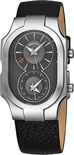 Philip Stein Signature Swiss Made Dual Time Zone Watch - Natural Frequency Technology Provides More Energy and Better Sleep - Analog Grey Face with Luminous Hands Black Leather Band Quartz Watch 2nd Time Zone Black Dial