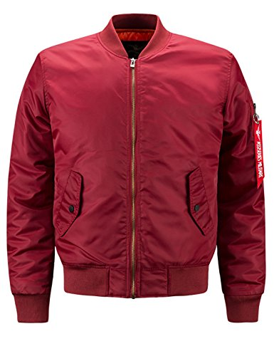 - Lentta Men's Casual Autumn Thin Baseball Bomber Short Aviator Flight Zip Jacket (Small, Wine Red)