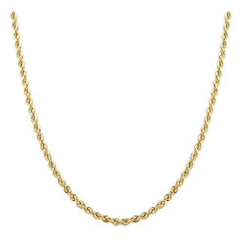 (Orostar 10K Yellow Gold 3MM, 3.5MM, 4MM, Diamond Cut Handmade Rope Chain Necklace, 16