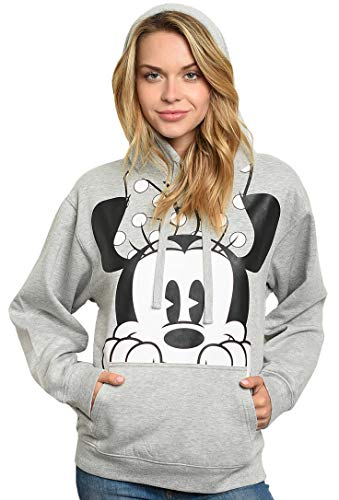 Disney Women's Plus Size Hoodie Minnie Mouse Peeking Pullover Sweatshirt (2X) Heather Grey