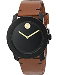 Movado Mens Swiss Quartz Stainless Steel and Leather Watch, Color: Brown (Model: 3600305)