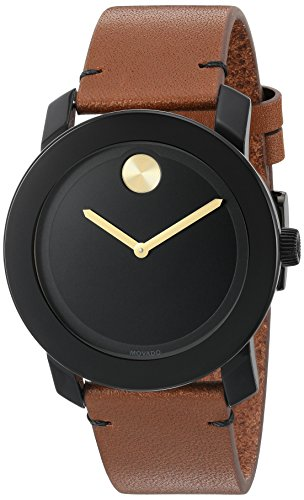 Movado Men's Swiss Quartz Stainless Steel & Leather Watch Brown (Large Image)