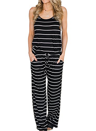 AMiERY Womens Black Jumpsuits Summer Comfy Striped One Piece Jumpsuits Casual Wide Leg Long Pants Loose Sleeveless Jumpsuits Rompers (L, Black Stripes) ()