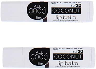 All Good SPF 20 Lip Balm for Soft Smooth Lips - Calendula, Lavender, Olive Oil, Beeswax, Vitamin E | Zinc Oxide for Safe Sun Protection (Coconut)(2-Pack)