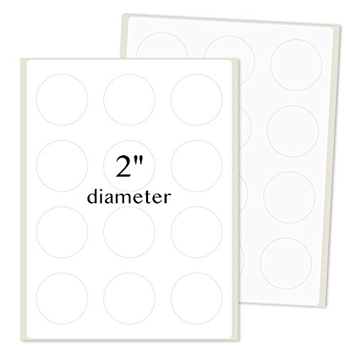 PACKZON Round Labels for Laser/Inkjet Printers, Permanent Adhesive, 2 Inches Diameter, White Matte, (Pack of 1200)