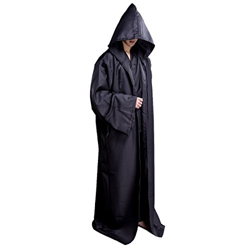 WESTLINK Hooded Robe Cloak Knight Cosplay Costume Cape - New Version - Bigger Cape (Double Cloth) with Strings]()