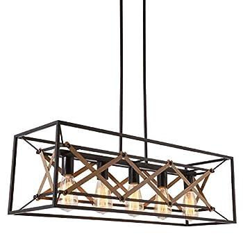 Image of Alice House 31.5' Island Lighting, 5 Light Kitchen Pendant Lighting, Dining Room Chandelier, Pool Table Light, Brown Finish AL8061-P5