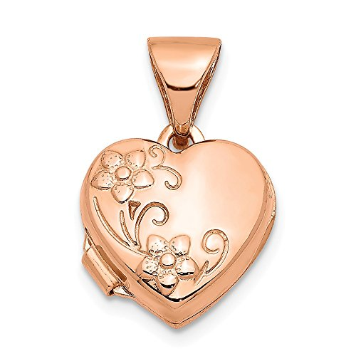 14k Rose Gold 10mm Floral Heart Photo Pendant Charm Locket Chain Necklace That Holds Pictures Fine Jewelry Gifts For Women For Her