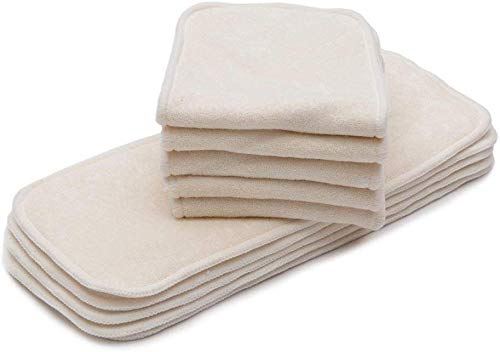 KaWaii Baby Premium Label Organic Bamboo Inserts for Cloth Diapers, 4-Layered Bamboo Inserts (No Microfiber or Fleece Inside), Diaper Inserts for 6-22 lbs, Reusable Diaper Inserts – Pack of 10.