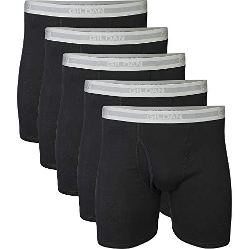 (Gildan Men's Regular Leg Boxer Brief Multipack, Black (5 Pack), Large)