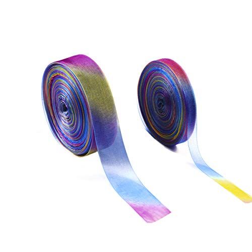 Forise 2 Roll of Organza Ribbons Chiffon Ribbon, Rainbow Colors 50 Yard 1 Inch and 0.4 Inch Width Shimmer Sheer Ribbon for Gift Package Wrapping,Wedding,DIY Crafts,Birthday,Festival Decoration