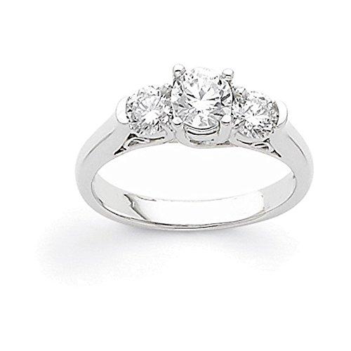 nd Semi-Mount Three Stone Ring Diamond quality AA (I1 clarity, G-I color) (Semi Mount 3 Stone Ring)