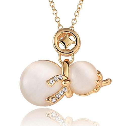 AMDXD Jewelry Gold Plated Women Pendant Necklace White Gold Bottle Gourd,Gift for Girls ()