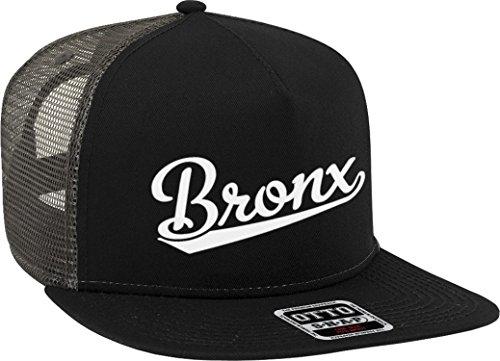 NOFO Clothing Co Bronx Script Baseball Font Snapback Trucker Hat, Black/Charcoal Grey