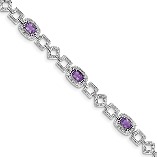 ICE CARATS 925 Sterling Silver Diamond Purple Amethyst Bracelet 7 Inch Gemstone Fine Jewelry Gift Set For Women Heart by ICE CARATS