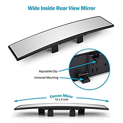 Dependable Direct Universal 12 Inch Interior Clip On Panoramic Rearview Mirror - Clear Tint - Wide Angle - for use in Car, SUV, Truck: Automotive