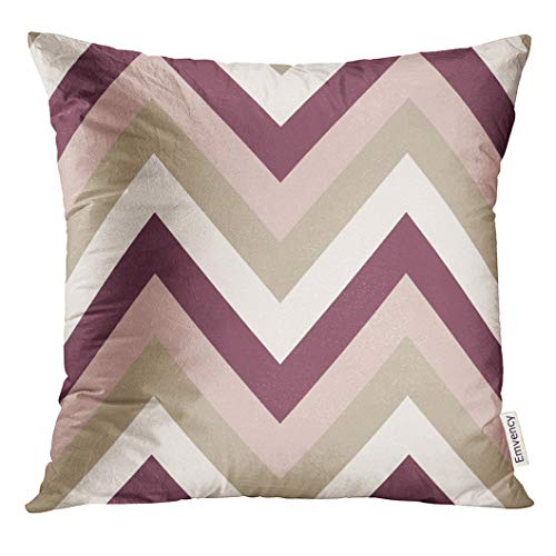UPOOS Throw Pillow Cover Gray Hipster Striped Zigzagging Zigzag Line Stripy Geometric Brown Maroon Beige Olive Colored Tan Band Decorative Pillow Case Home Decor Square 18x18 Inches Pillowcase