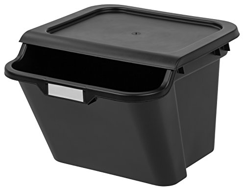 IRIS 41.6 Quart Recycle Storage Bin, Black
