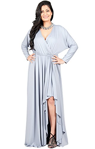 Adelyn & Vivian Womens Long Plus Size Sleeve Sexy Formal Fall Gown Maxi Dresses -  Adelyn and Vivian