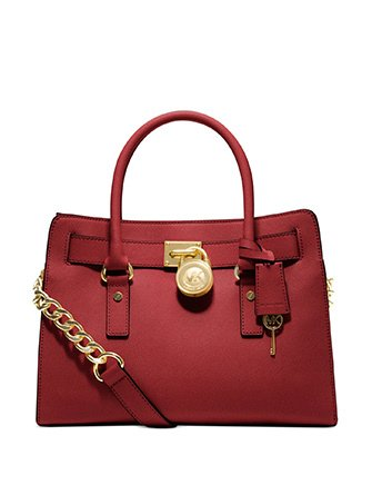 MICHAEL Michael Kors Hamilton Saffiano Leather E/W Satchel, Red by Michael Kors